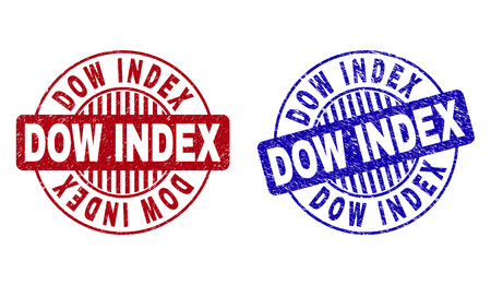 Grunge DOW INDEX round stamp seals isolated on a white background. Round seals with grunge texture in red and blue colors. Vector rubber imprint of DOW INDEX tag inside circle form with stripes. Illustration