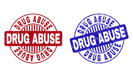 Grunge DRUG ABUSE round stamp seals isolated on a white background. Round seals with grunge texture in red and blue colors. Vector rubber overlay of DRUG ABUSE title inside circle form with stripes.