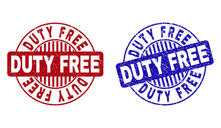 Grunge DUTY FREE round stamp seals isolated on a white background. Round seals with grunge texture in red and blue colors. Vector rubber imprint of DUTY FREE label inside circle form with stripes.
