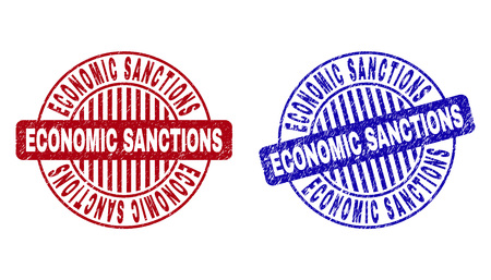 Grunge ECONOMIC SANCTIONS round stamp seals isolated on a white background. Round seals with grunge texture in red and blue colors.