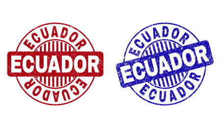 Grunge ECUADOR round stamp seals isolated on a white background. Round seals with distress texture in red and blue colors. Vector rubber imprint of ECUADOR text inside circle form with stripes.