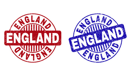 Grunge ENGLAND round stamp seals isolated on a white background. Round seals with grunge texture in red and blue colors. Vector rubber imitation of ENGLAND title inside circle form with stripes.  イラスト・ベクター素材
