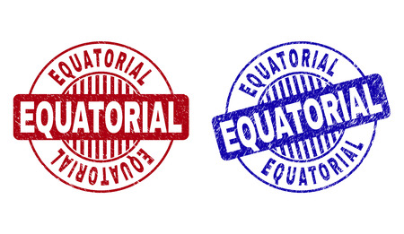 Grunge EQUATORIAL round stamp seals isolated on a white background. Round seals with grunge texture in red and blue colors. Vector rubber watermark of EQUATORIAL label inside circle form with stripes. Illustration