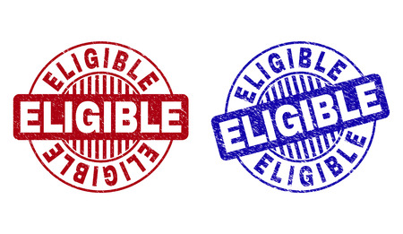 Grunge ELIGIBLE round stamp seals isolated on a white background. Round seals with distress texture in red and blue colors. Vector rubber imitation of ELIGIBLE title inside circle form with stripes.