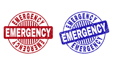 Grunge EMERGENCY round stamp seals isolated on a white background. Round seals with grunge texture in red and blue colors. Vector rubber imitation of EMERGENCY caption inside circle form with stripes.