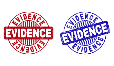 Grunge EVIDENCE round stamp seals isolated on a white background. Round seals with grunge texture in red and blue colors. Vector rubber imitation of EVIDENCE text inside circle form with stripes.  イラスト・ベクター素材