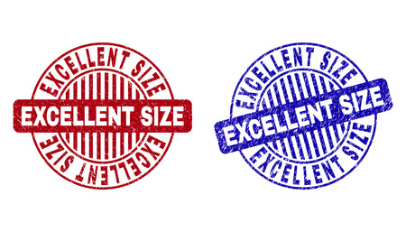 Grunge EXCELLENT SIZE round stamp seals isolated on a white background. Round seals with grunge texture in red and blue colors.