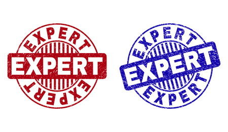 Grunge EXPERT round stamp seals isolated on a white background. Round seals with grunge texture in red and blue colors. Vector rubber overlay of EXPERT label inside circle form with stripes.