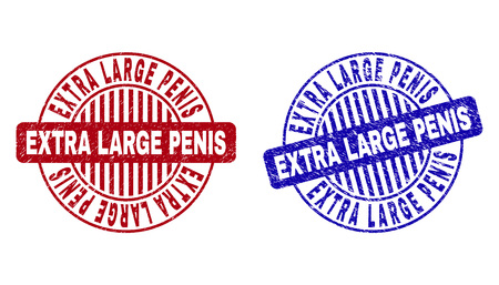 Grunge EXTRA LARGE PENIS round stamp seals isolated on a white background. Round seals with grunge texture in red and blue colors.