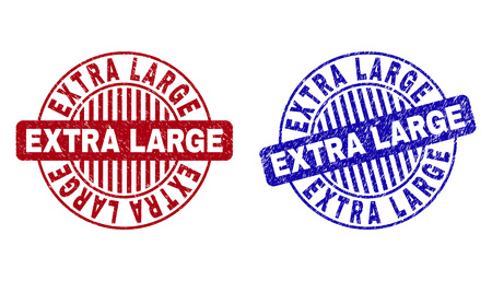 Grunge EXTRA LARGE round stamp seals isolated on a white background. Round seals with grunge texture in red and blue colors. Vector rubber imitation of EXTRA LARGE tag inside circle form with stripes.