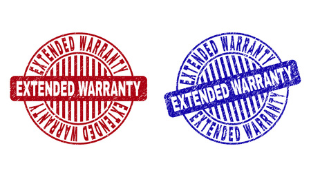 Grunge EXTENDED WARRANTY round stamp seals isolated on a white background. Round seals with grunge texture in red and blue colors. Illustration