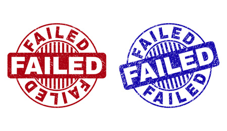 Grunge FAILED round stamp seals isolated on a white background. Round seals with distress texture in red and blue colors. Vector rubber imitation of FAILED tag inside circle form with stripes.