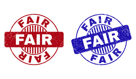 Grunge FAIR round stamp seals isolated on a white background. Round seals with distress texture in red and blue colors. Vector rubber watermark of FAIR tag inside circle form with stripes. Иллюстрация