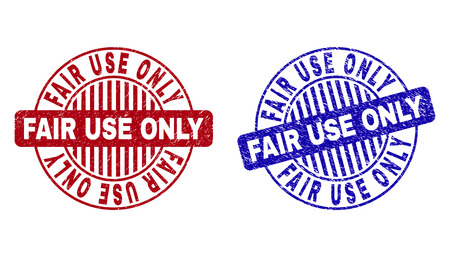 Grunge FAIR USE ONLY round stamp seals isolated on a white background. Round seals with grunge texture in red and blue colors.