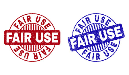 Grunge FAIR USE round stamp seals isolated on a white background. Round seals with grunge texture in red and blue colors. Vector rubber watermark of FAIR USE text inside circle form with stripes.