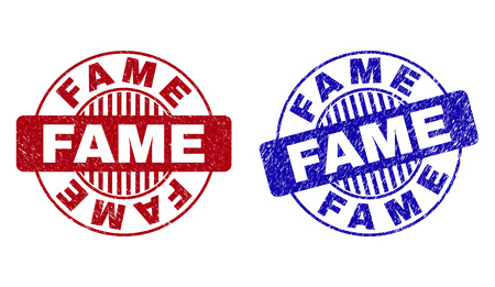 Grunge FAME round stamp seals isolated on a white background. Round seals with distress texture in red and blue colors. Vector rubber imitation of FAME text inside circle form with stripes.