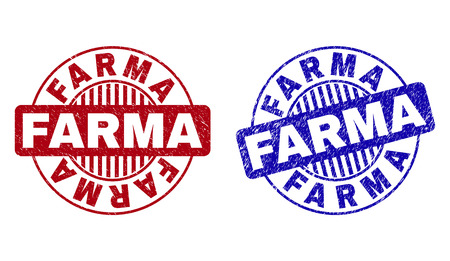 Grunge FARMA round stamp seals isolated on a white background. Round seals with grunge texture in red and blue colors. Vector rubber watermark of FARMA caption inside circle form with stripes. Ilustrace