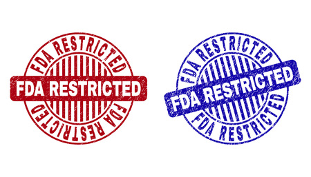 Grunge FDA RESTRICTED round stamp seals isolated on a white background. Round seals with grunge texture in red and blue colors.