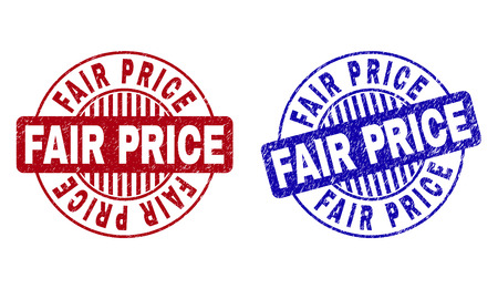 Grunge FAIR PRICE round stamp seals isolated on a white background. Round seals with grunge texture in red and blue colors. Vector rubber imprint of FAIR PRICE label inside circle form with stripes.