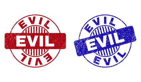 Grunge EVIL round stamp seals isolated on a white background. Round seals with grunge texture in red and blue colors. Vector rubber imprint of EVIL title inside circle form with stripes. Vettoriali