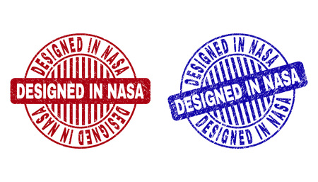 Grunge DESIGNED IN NASA round stamp seals isolated on a white background. Round seals with grunge texture in red and blue colors.