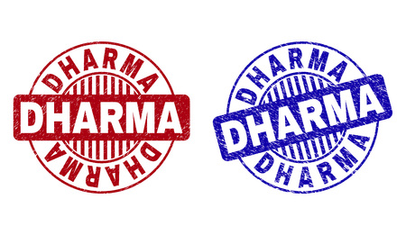 Grunge DHARMA round stamp seals isolated on a white background. Round seals with grunge texture in red and blue colors. Vector rubber imprint of DHARMA title inside circle form with stripes.