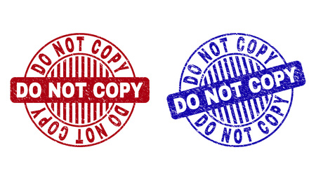 Grunge DO NOT COPY round stamp seals isolated on a white background. Round seals with grunge texture in red and blue colors.