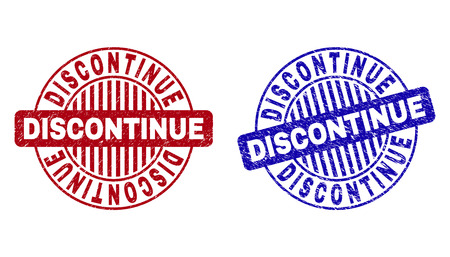 Grunge DISCONTINUE round stamp seals isolated on a white background. Round seals with distress texture in red and blue colors.