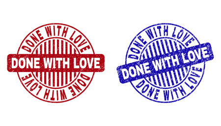 Grunge DONE WITH LOVE round stamp seals isolated on a white background. Round seals with distress texture in red and blue colors.