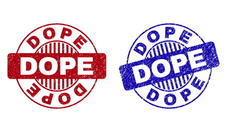 Grunge DOPE round stamp seals isolated on a white background. Round seals with distress texture in red and blue colors. Vector rubber imitation of DOPE title inside circle form with stripes.