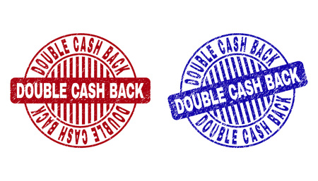 Grunge DOUBLE CASH BACK round stamp seals isolated on a white background. Round seals with grunge texture in red and blue colors.