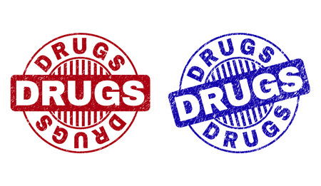 Grunge DRUGS round stamp seals isolated on a white background. Round seals with grunge texture in red and blue colors. Vector rubber imitation of DRUGS tag inside circle form with stripes.