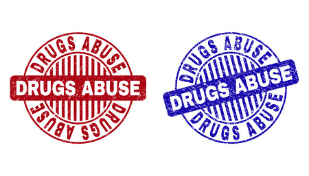 Grunge DRUGS ABUSE round stamp seals isolated on a white background. Round seals with grunge texture in red and blue colors. Vector rubber overlay of DRUGS ABUSE text inside circle form with stripes.