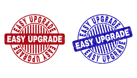 Grunge EASY UPGRADE round stamp seals isolated on a white background. Round seals with grunge texture in red and blue colors. Illustration