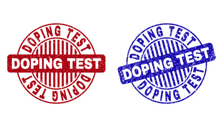 Grunge DOPING TEST round stamps isolated on a white background. Round seals with grunge texture in red and blue colors. Vector rubber overlay of DOPING TEST text inside circle form with stripes. Illustration