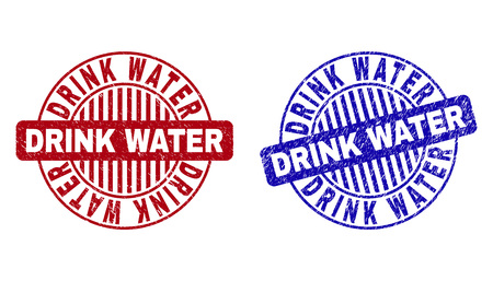 Grunge DRINK WATER round stamp seals isolated on a white background. Round seals with grunge texture in red and blue colors. Illustration