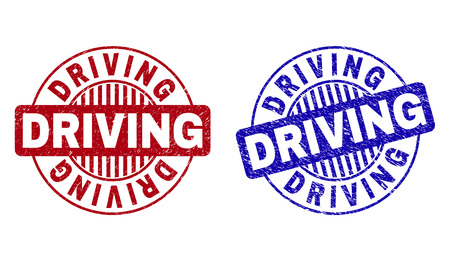 Grunge DRIVING round stamp seals isolated on a white background. Round seals with grunge texture in red and blue colors. Vector rubber imitation of DRIVING caption inside circle form with stripes.