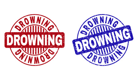 Grunge DROWNING round stamp seals isolated on a white background. Round seals with grunge texture in red and blue colors. Vector rubber imitation of DROWNING tag inside circle form with stripes.