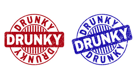 Grunge DRUNKY round stamp seals isolated on a white background. Round seals with grunge texture in red and blue colors. Vector rubber imitation of DRUNKY tag inside circle form with stripes.