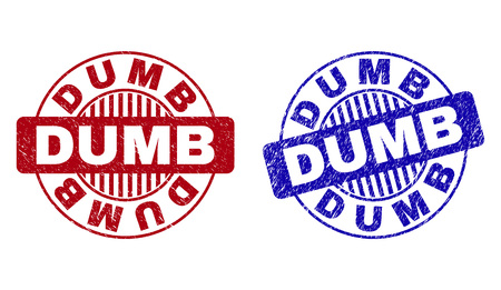Grunge DUMB round stamp seals isolated on a white background. Round seals with grunge texture in red and blue colors. Vector rubber watermark of DUMB title inside circle form with stripes.