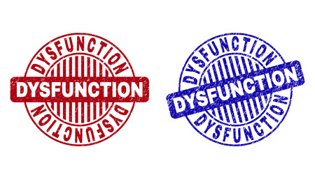 Grunge DYSFUNCTION round stamp seals isolated on a white background. Round seals with grunge texture in red and blue colors. Vector rubber imprint of DYSFUNCTION title inside circle form with stripes.