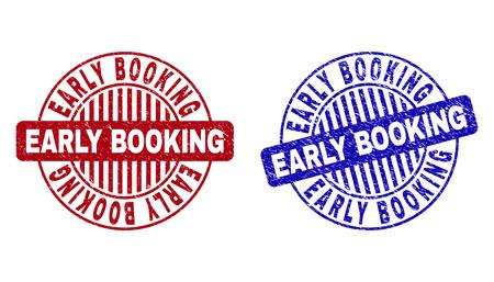 Sellos de sello redondo de reserva anticipada de grunge aislados sobre fondo blanco. Sellos redondos con textura de socorro en colores rojo y azul. Ilustración de vector