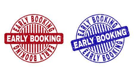 Grunge EARLY BOOKING round stamp seals isolated on a white background. Round seals with distress texture in red and blue colors. Illustration