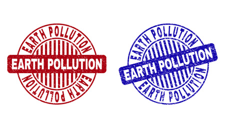 Grunge EARTH POLLUTION round stamp seals isolated on a white background. Round seals with distress texture in red and blue colors.