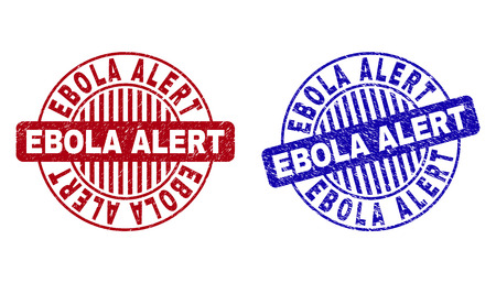 Grunge EBOLA ALERT round watermarks isolated on a white background. Round seals with grunge texture in red and blue colors. Vector rubber imprint of EBOLA ALERT tag inside circle form with stripes. Vettoriali