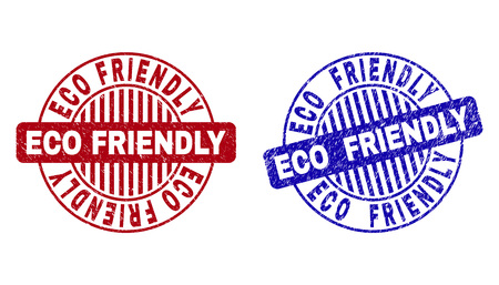 Grunge ECO FRIENDLY round stamp seals isolated on a white background. Round seals with grunge texture in red and blue colors.