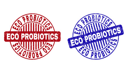 Grunge ECO PROBIOTICS round stamp seals isolated on a white background. Round seals with grunge texture in red and blue colors. Illustration