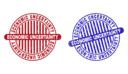 Grunge ECONOMIC UNCERTAINTY round stamp seals isolated on a white background. Round seals with distress texture in red and blue colors.