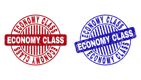 Grunge ECONOMY CLASS round stamp seals isolated on a white background. Round seals with distress texture in red and blue colors.