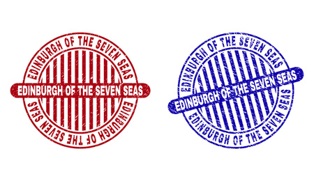 Grunge EDINBURGH OF THE SEVEN SEAS round stamp seals isolated on a white background. Round seals with grunge texture in red and blue colors.